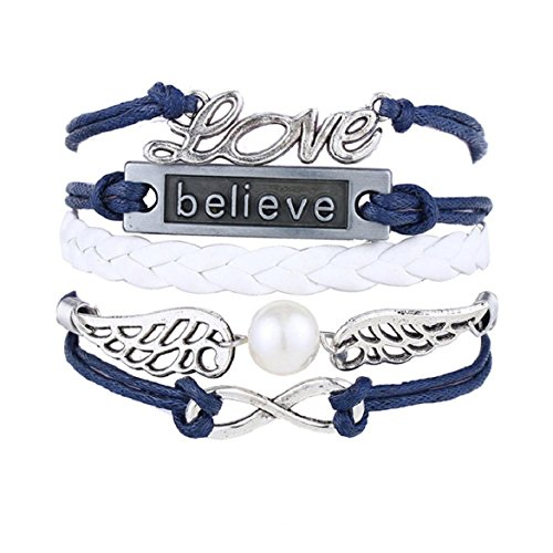 (Nurbo Handmade Love Owl wings Multilayer Knit Leather Rope Chain Bracelet)