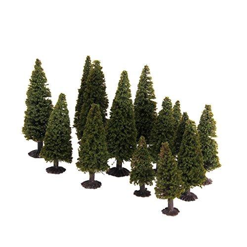 15pcs Green Scenery Landscape Model Cedar Trees with Box