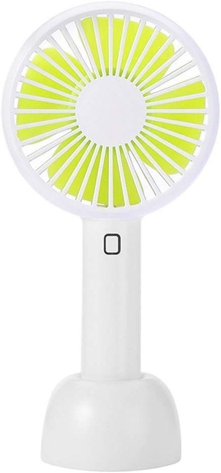 Air Cooler Mini Fan Portable Desktop Charging USB Cooling Fan Handheld Cute Fan Anti-Slip Base Color : Green