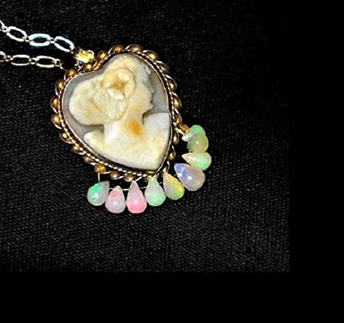 (Vintage Hand Carved Shell Cameo Heart Pendant/Brooch/Necklace Marked Sterling Gold Plating Dripping in Natural Ethiopian Welo Fire Opals. OOAK)
