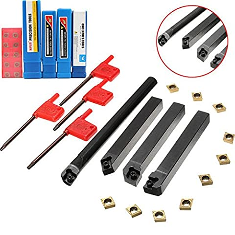 dipshop 4pcs SCLCR/L SCMCN 12mm Lathe Boring Bar Turning Tool Holder With 10pcs CCMT09T3 - Carbide Insert Boring Bar