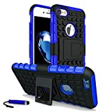 iPhone 6 6S Heavy Duty Shock Proof Dual Case Full Protection Cover with Back Stand & Screen Protector & Stylus (Blue)