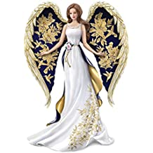 Lena Liu Angel Figurine with Hand Applied Golden Floral and Hummingbird Artwork by The Hamilton Collection