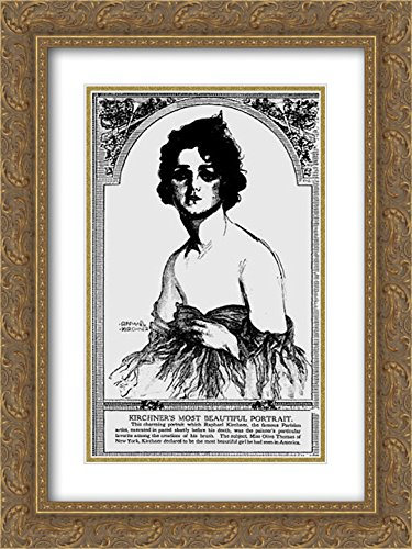 Raphael Kirchner 2x Matted 18x24 Gold Ornate Framed Art Print 'Olive Thomas, The Pittsburgh - Pittsburgh Galleria