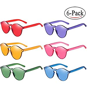 RTBOFY One Piece Round Rimless Sunglasses Transparent Candy Color Eyewear (9803-6 color)