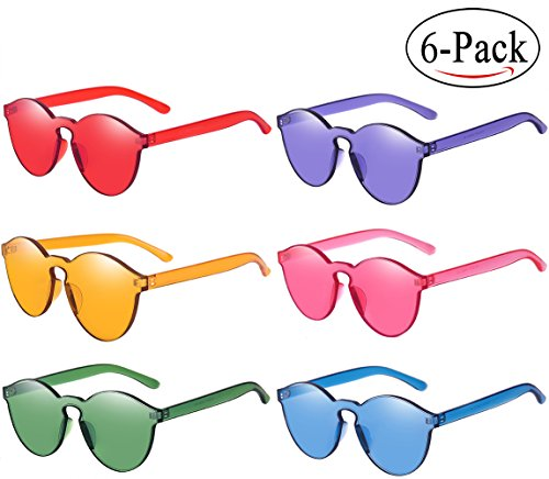 RTBOFY One Piece Round Rimless Sunglasses Transparent Candy Color Eyewear (6-color)