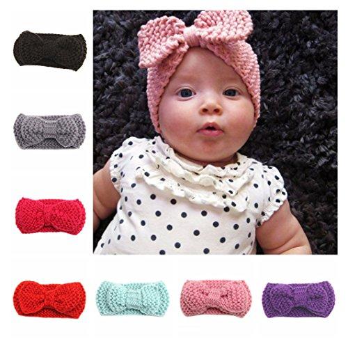 Infant Crochet Headbands (Baby Crochet Wool Headwrap Knitted Bowknot Winter Ear Warmer Infant Headband JA38 (1# Black))