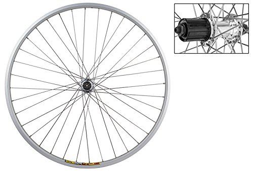 WheelMaster 700c Rear Wheel - Quick-Release, 36H, 8-Speed Cassette Hub, Silver/Silver/Steel by WheelMaster