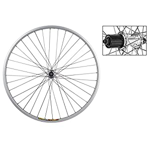 Wheel Master 700c Rear Wheel Quick Release, 36H, 8 Speed Cassette Hub, Silver/Silver/Steel