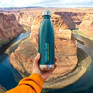 Thermo Tank Insulated Stainless Steel Water Bottle - Ice Cold 36 Hours! Vacuum + Copper Technology - 25 Ounce