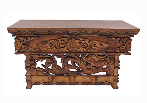 DharmaObjects Solid Wood Hand Carved Tibetan Buddhist Prayer Shrine Altar Meditation Table (Large, Dark)