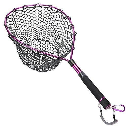 Scale Net (Goture Magnetic Clip Fly Fishing Landing Net Catch Release Trout Net – Aluminum Alloy Frame Soft Rubber Mesh(Black Rubber Net/Purple))