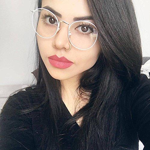 TIJN Women Full Rim Round Metal Circle Eyeglasses Thin Frame