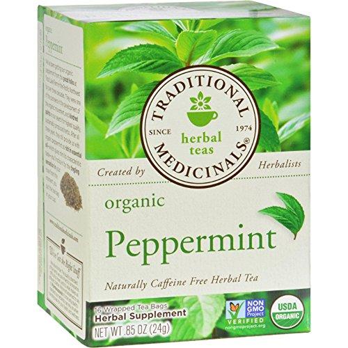 - Traditional Medicinals Organic Caffeine Free Peppermint Herbal Tea, 16 tea bags per pack - 1 each.
