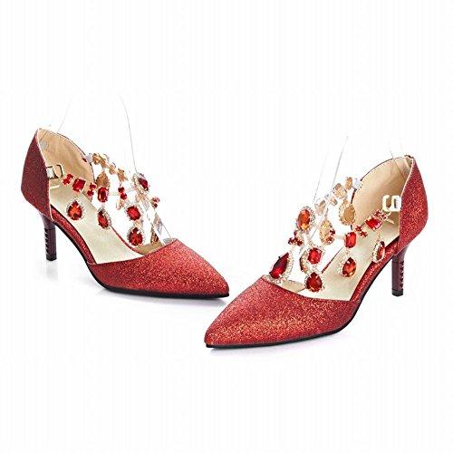 Charm Fot Kvinna Mode Paljetter Faux Juveler Pekade Tå Klänning Höga Klackar Röda