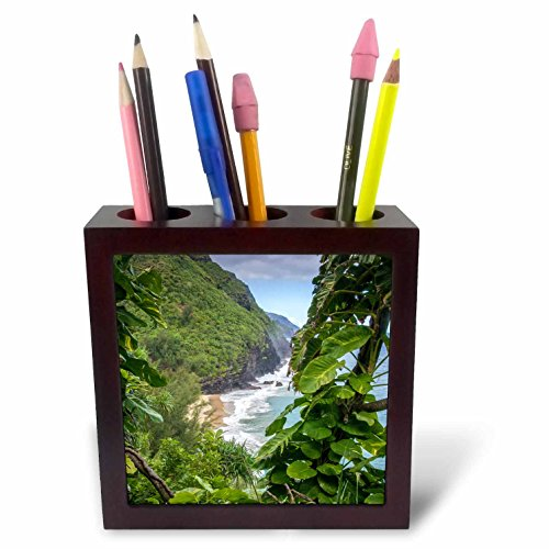 3dRose Danita Delimont - Rivers - Hawaii, Kauai, Napali, Napali Coast State Park, Pacific Ocean - 5 inch tile pen holder (ph_278936_1) by 3dRose