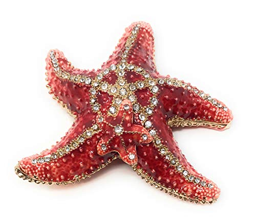 Kubla Crafts Enameled Starfish Trinket Box, Accented with Austrian Crystals, 3.5 Inches Diameter