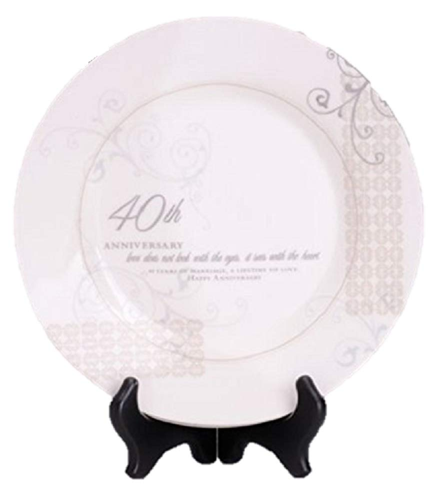 40th Wedding Anniversary Love Sees with the Heart Porcelain Plate with Stand Roman 60674