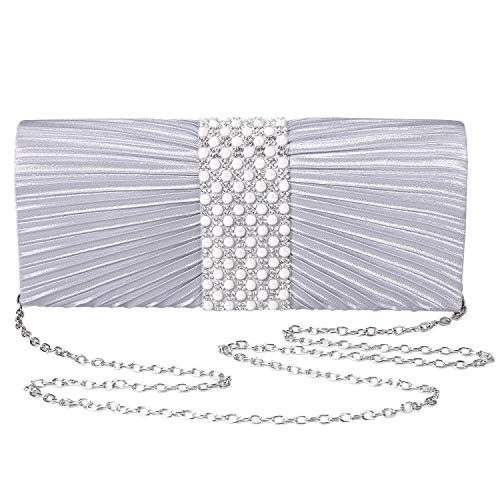 Womens Satin Clutch with Pearl and Diamond Evening Handbag for Party Cocktail Wedding Purse Wallet Bag(SILVER)