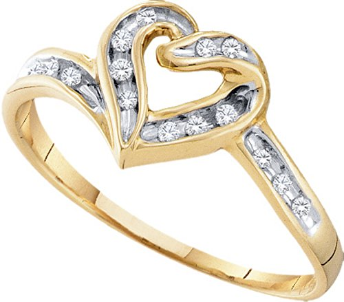 10kt Two-tone Gold Womens Round Diamond Heart Frame Ring 1/12 Cttw by JawaFashion