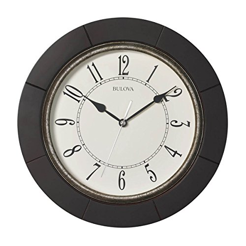 Bulova C4256 Silent Espresso Wall Clock, 9.75 ,