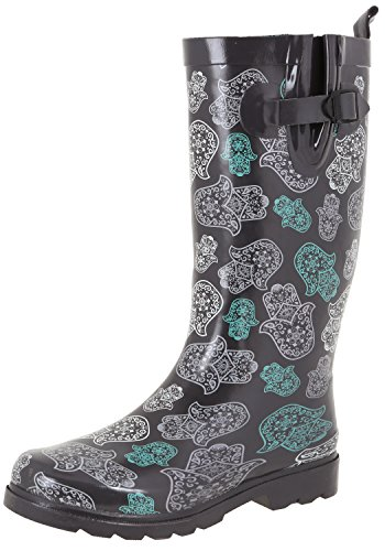 Capelli New York Dames Glimmend Lang Rainboot Grijs Kant