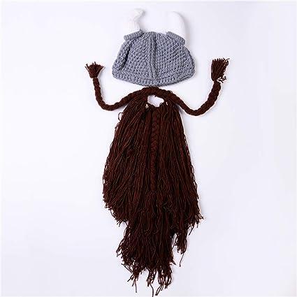Personalidad Sombrero Vikingo con Barba, Gorro Trenzado De Cuerno ...