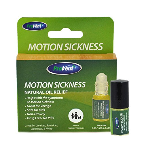Motion Sickness Homeopathy - Provent Motion Sickness Natural Relief Roll- On, Non Drowsy Prevents Nausea and Dizziness for Kids and Adults, Travel Sickness Natural Oils, 2.5ml