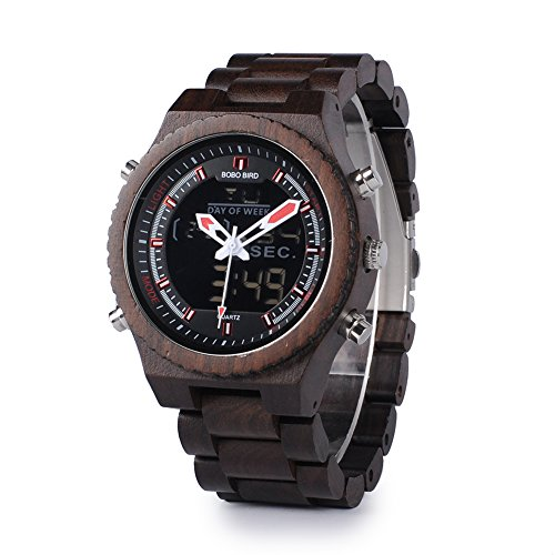Wooden Watch Handmade Dual Display Quartz Watch for Men LED Digital Army Military Sport Wristwatches