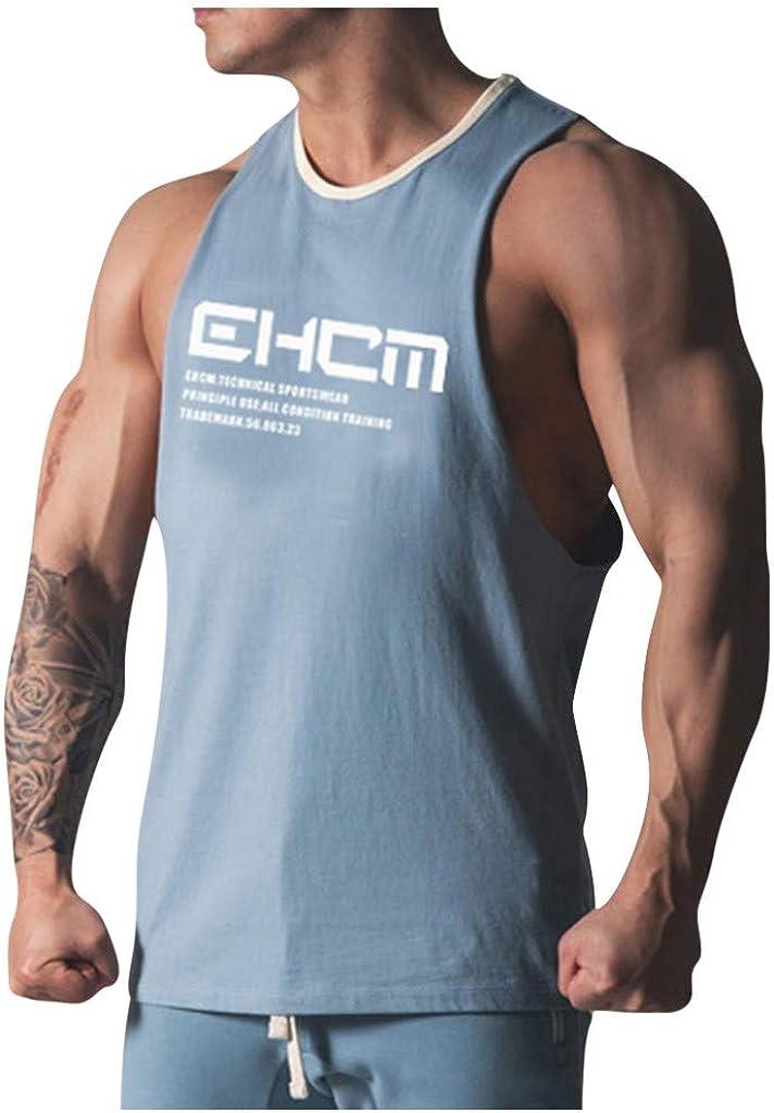Ropa Deportiva Color SóLido Camiseta de Tirantes Regular fit Verano Casual Delgado Sin Mangas T-Shirt Vest Transpirable Cómodo Sport Tank Top Ropa de Moda JiaMeng_ZI