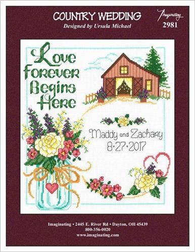 Imaginating Country Wedding (Model 2981) Cross Stitch Kit and Free Embellishment