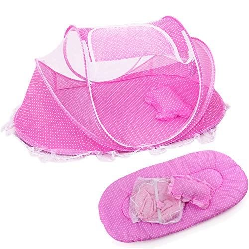 KooJoee Foldable Baby Travel Pop-up Bed Crib, Portable Infant Mosquito Net Tent Cots with Mattress Pillow for 0-24 Months - Pink ()