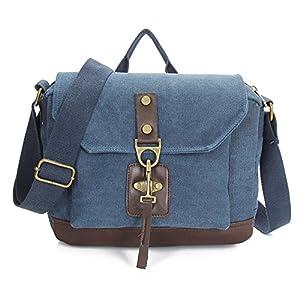FTSUCQ Unisex Canvas Totes Shoulder Student School Bags Handbags Hobos Blue Satchels