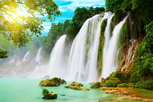 OFILA Waterfall Backdrops 9x6ft Green Mountains and Rivers Sunshine Rocks Green Trees Forests Nature Scenery Photography Background Travel Photos Studio Props Children Shooting