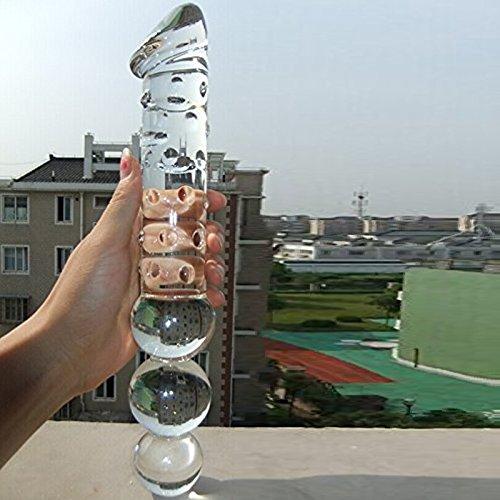 Crystal Immitate Glass Penis Glass Dilddo with 3 Big Beads Transparent Female Apparatus Sex Toys Adult Toys Large Big 11.8 Inch Anal Plug for Women Masturbation G-spot Stimulate Stimulator Stimulation