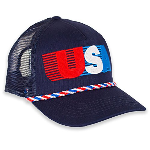 USA Patriotic Snapback Cap - American Retro Mesh Hat - Team Trucker Usa Hat