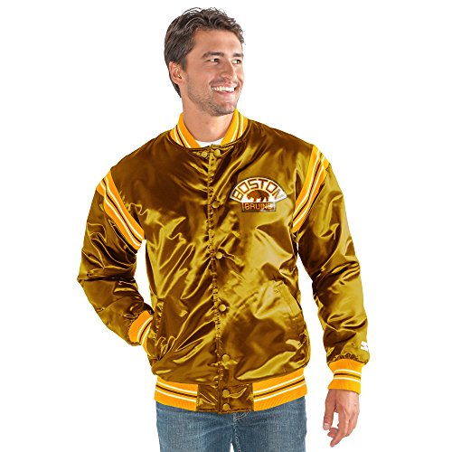 STARTER NHL Boston Bruins Men's The Enforcer Retro Satin Jacket, Large, Brown ()