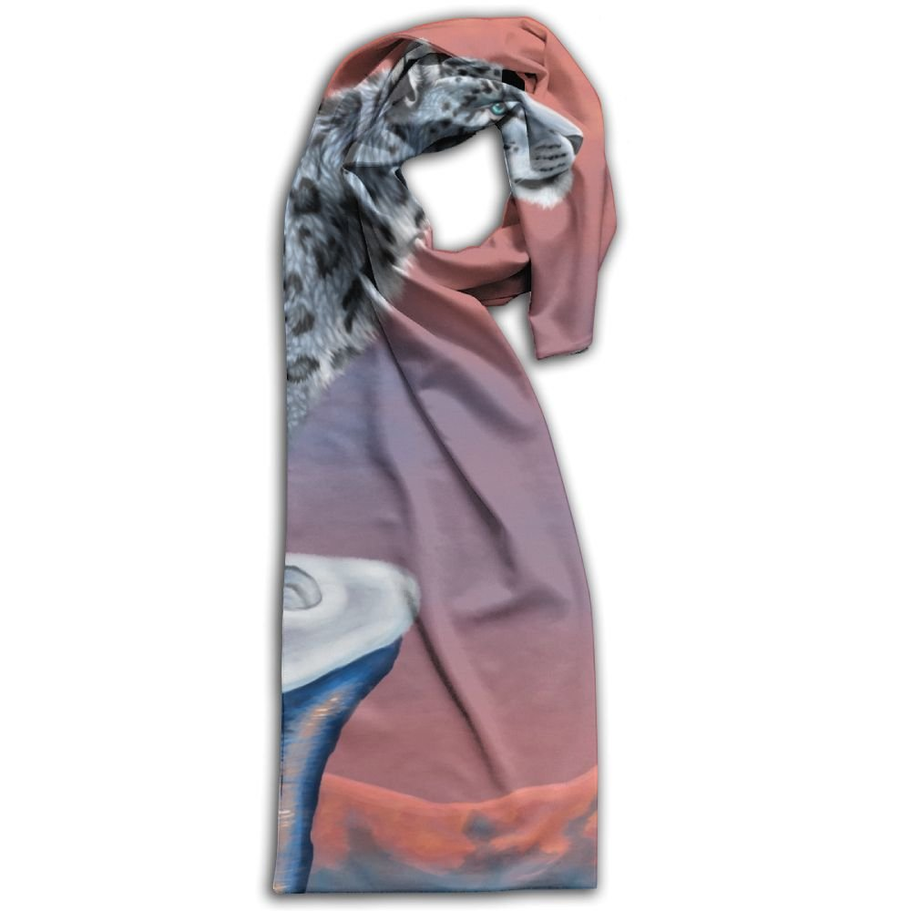 Unique White Lonely Leopard On A Rock Top Adult Unisex Double Side Printing Fashion Scarves 71'' X 10''