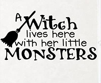 Wallstickersusa Wall Stickers, a Witch Lives Here with Her Little Monsters from WallStickersUSA
