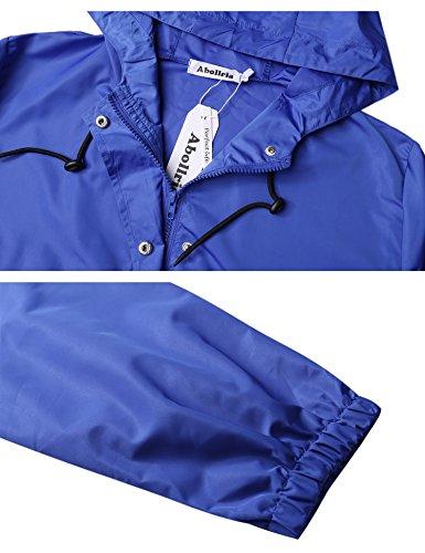 Casual Comode Vento Primavera Giacca Autunno A Cappuccio E Lampo Con Tasche Per Chiusura Impermeabile Blu Abollria Estate Donna Cappotto Antipioggia atAqUw70