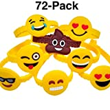 OHill 72Pcs Emoji Bracelets Emoticons Wristbands for Birthday Party Favors Supplies, Party Goodie Bags
