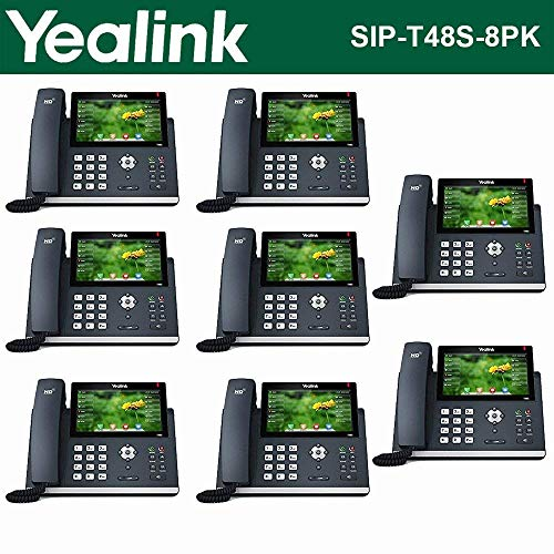 Yealink [8-Pack] T48S IP Phone, 16 Lines. 7-Inch Color Touch Screen Display. USB 2.0, Dual-Port Gigabit Ethernet, 802.3af PoE, Power Adapter Not Included (SIP-T48S-8)