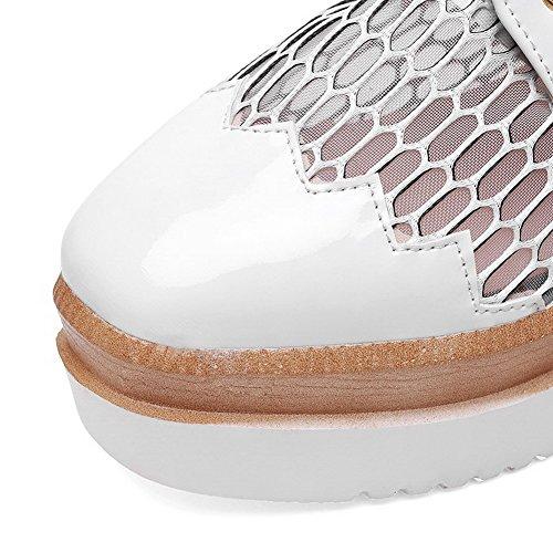 Amoonyfashion Mujeres Charol Lace-up Square Cerrado Dedo Del Pie Kitten-heels Solid Pumps-Zapatos Blanco