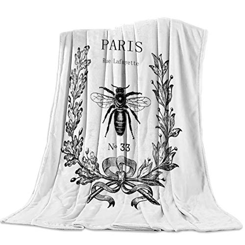 CHARMHOME Comfort Throw Blanket Rue Lafayette of Paris Lightweight Plush Microfiber Fleece Comfy Gift Blankets for Chair Bed Couch, 50x60 Inch ()