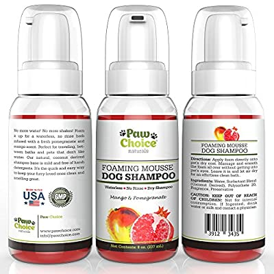 Dry Dog Shampoo, Waterless, No Rinse Foam Mousse - Best for Bathless Cleaning of Coat and Removing Pet Odor - Mango & Pomegranate Scent, Natural with No Harsh Detergents, Made in USA, 100% Guaranteed