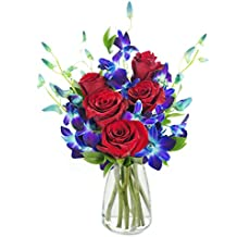 KaBloom Bouquet of Sapphire Blue Orchids and Red Roses: 5 Red Roses, 5 Blue Dendrobium Orchids and Lush Greens with Vase