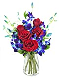 #2: KaBloom Bouquet of Sapphire Blue Orchids and Red Roses: 5 Red Roses, 5 Blue Dendrobium Orchids and Lush Greens with Vase
