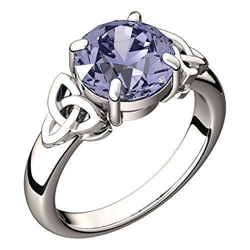 Diamond Eternal Love Band (Sterling Silver, 8mm 2.5ct Round Amethyst CZ Diamond, February Birthstone and Aquarius Zodiac Colors, Irish Celtic Trinity Knot Band Ring, Express Your Eternal Love - 9)