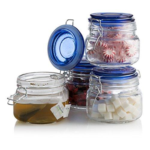 Klikel Square Glass Kitchen Storage Canister Jars - Crystal Clear Food Storage Jars Blue Lid Bail & Trigger Hermetic Seal - 16oz, (Set of 4)