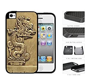 Beast Devours Man Mayan Clay Sculpture 2-Piece Dual Layer High Impact Rubber Silicone Cell Phone Case Apple iPhone 4 4s